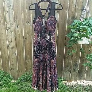 Free People sheer overlay velvet maxi halter dress